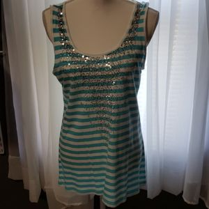 Sequin Embellished Sleeveless Top, Size M
